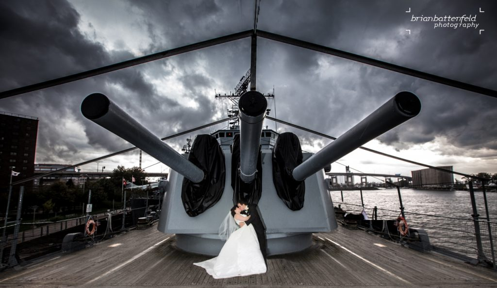 Bride and Groom on Naval Ship