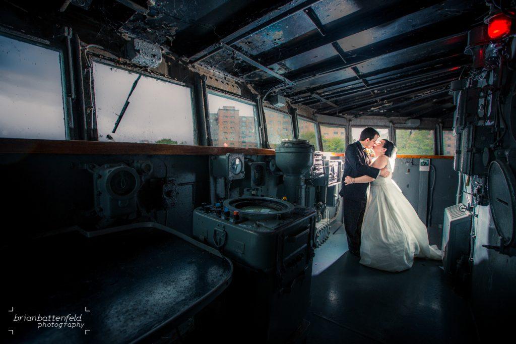 Buffalo Bride and Groom in Naval Ship