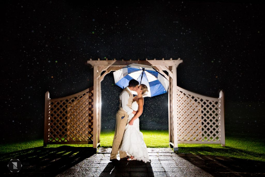 Bride and groom in rain with umbrella