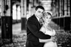 Bride and groom at central terminal