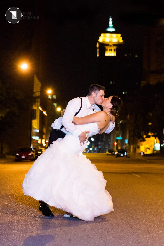 Bride and groom at night in Buffalo