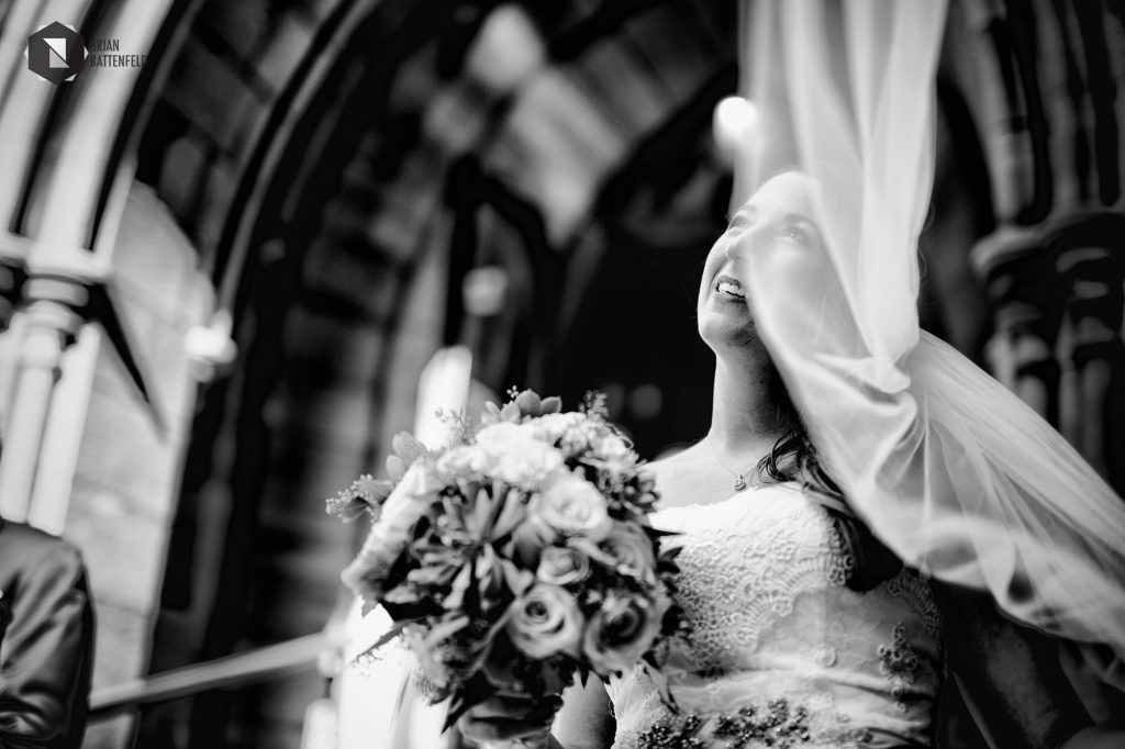 Bride outside St. Paul's Cathedral in Buffalo