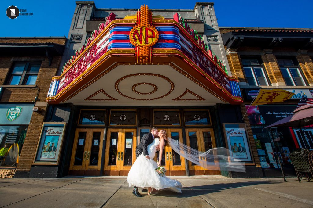 Bride and groom at North Park Theater