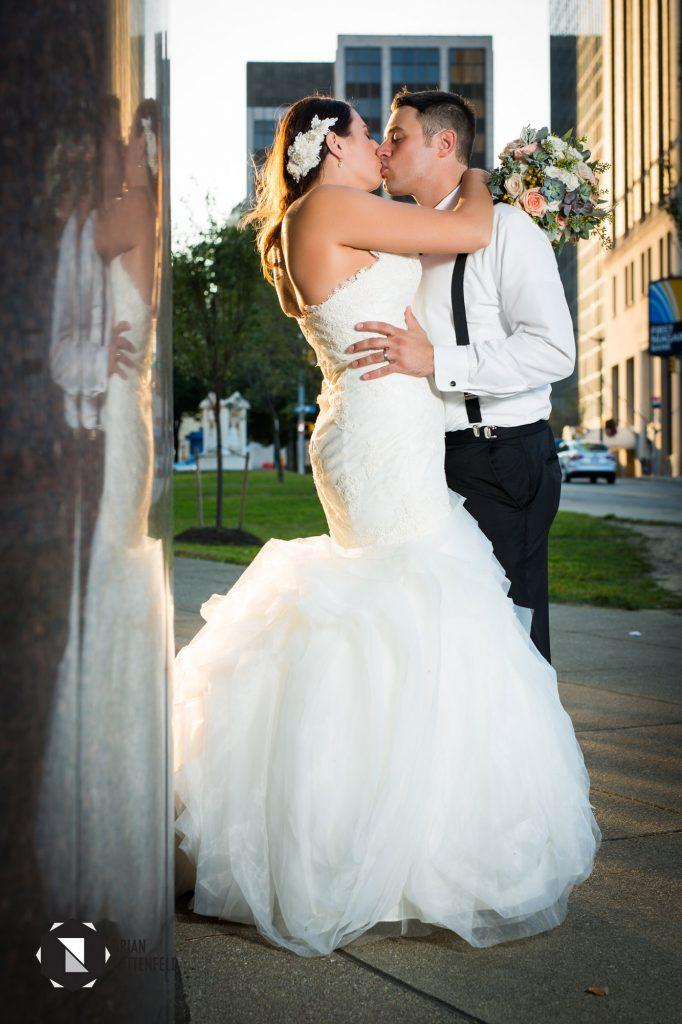 Bride and groom outside Buffalo Public Library